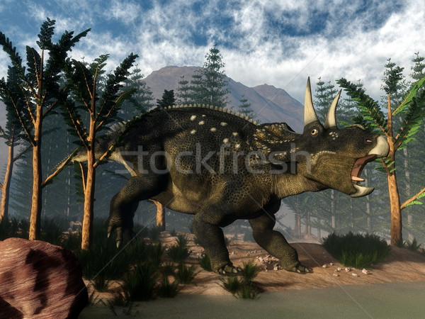 Stock photo: Nedoceratops roaring while running - 3D render