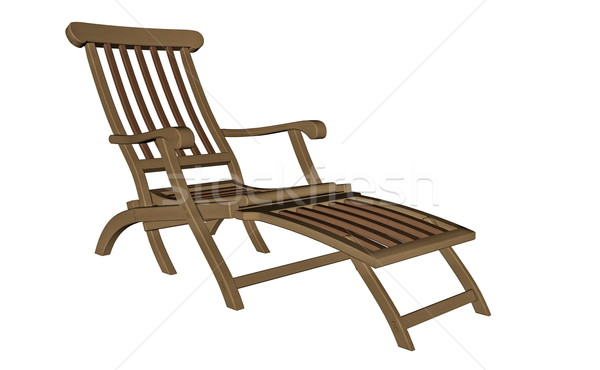 Wooden chaise longue - 3D render Stock photo © Elenarts