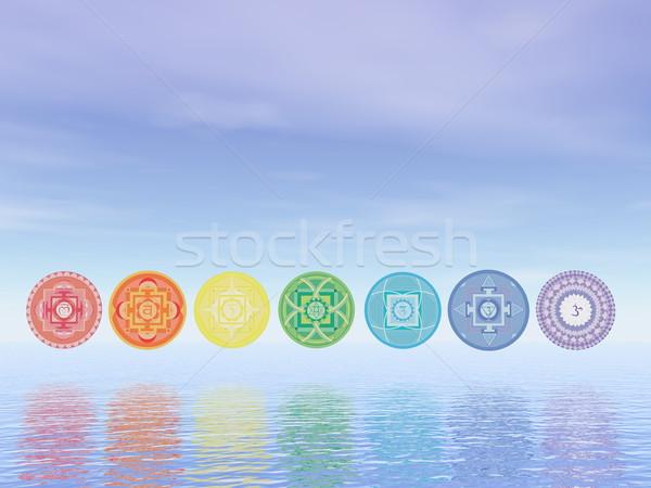 Zeven chakra symbolen lijn 3d render water Stockfoto © Elenarts