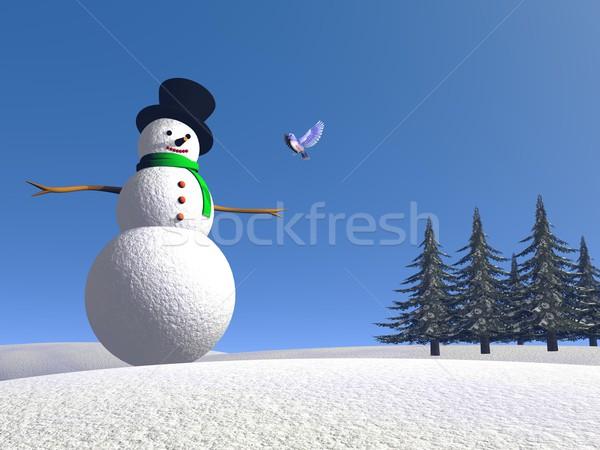 Snowman and bird - 3D render Stock photo © Elenarts