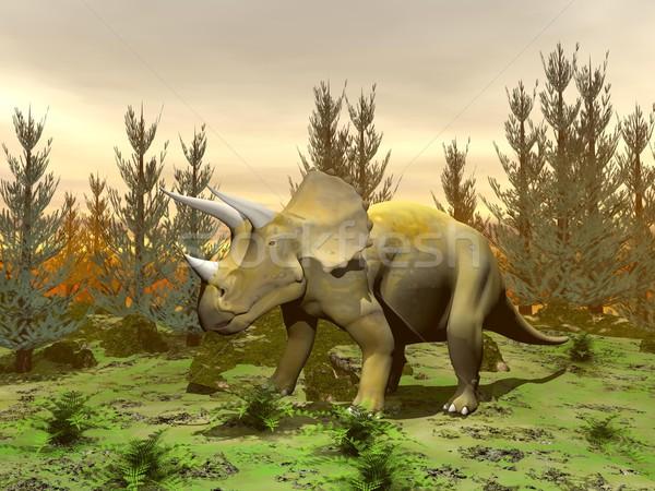 Triceratops dinosaur - 3D render Stock photo © Elenarts