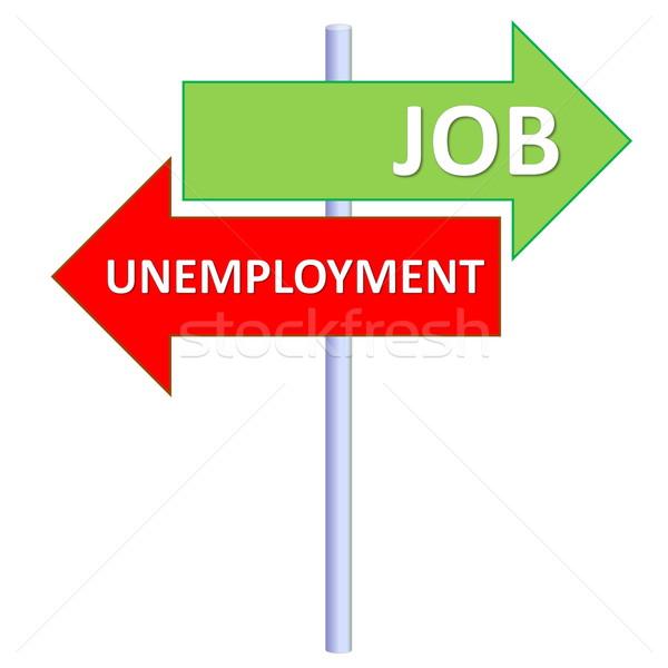 Foto stock: Trabalho · desemprego · poste · de · sinalização · dois · diferente