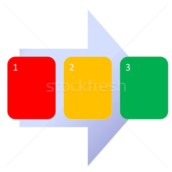 Krok schemat trzy kroki działalności biały Zdjęcia stock © Elenarts