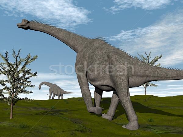 Brachiosaurus dinosaurs walk - 3D render Stock photo © Elenarts