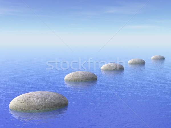 Lépcső óceán 3d render szürke kövek kék Stock fotó © Elenarts