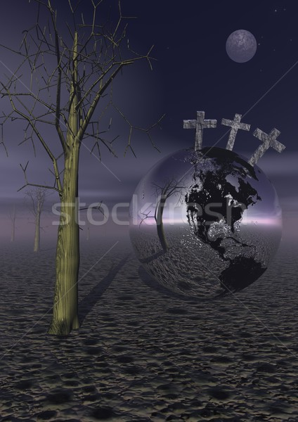 Golgotha by night Stock photo © Elenarts