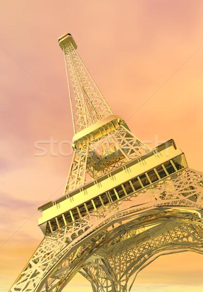 Stock fotó: Arany · Eiffel-torony · Párizs · Franciaország · 3d · render · francia