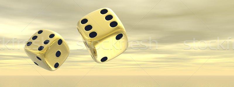 Golden dice - 3D render Stock photo © Elenarts