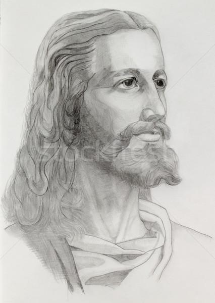 Jezusa portret szary ołówki rysunek Wielkanoc Zdjęcia stock © Elenarts