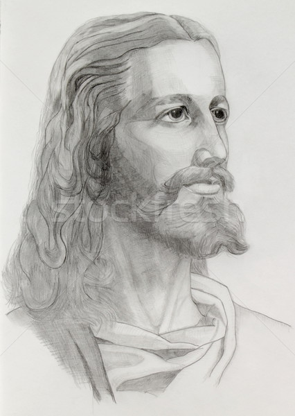 Jesus portret grijs potloden tekening Pasen Stockfoto © Elenarts