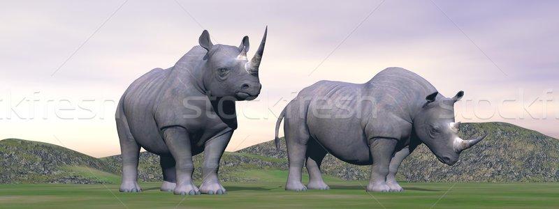Stracił nosorożec 3d dwa stałego sam Zdjęcia stock © Elenarts