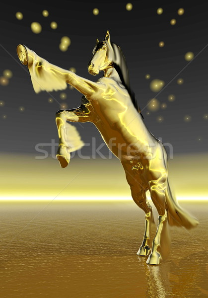 Golden rearing horse - 3D render Stock photo © Elenarts