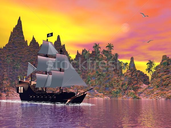 Foto stock: Pirata · buque · puesta · de · sol · 3d · abrigo · colorido