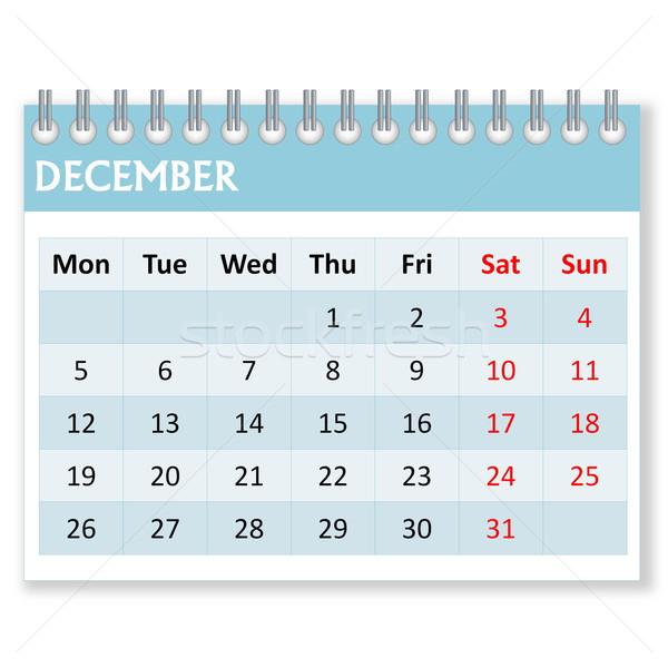Calendário folha dezembro mês branco semana Foto stock © Elenarts