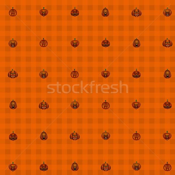 Végtelenített halloween tökök 3d render narancs háttér Stock fotó © Elenarts