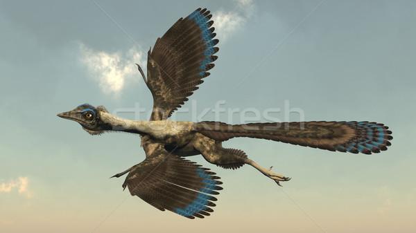 Archaeopteryx birds dinosaurs flying - 3D render Stock photo © Elenarts