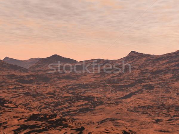 Mars landscape - 3D render Stock photo © Elenarts