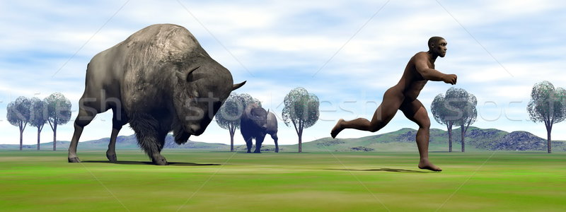 Bison charging homo erectus - 3D render Stock photo © Elenarts