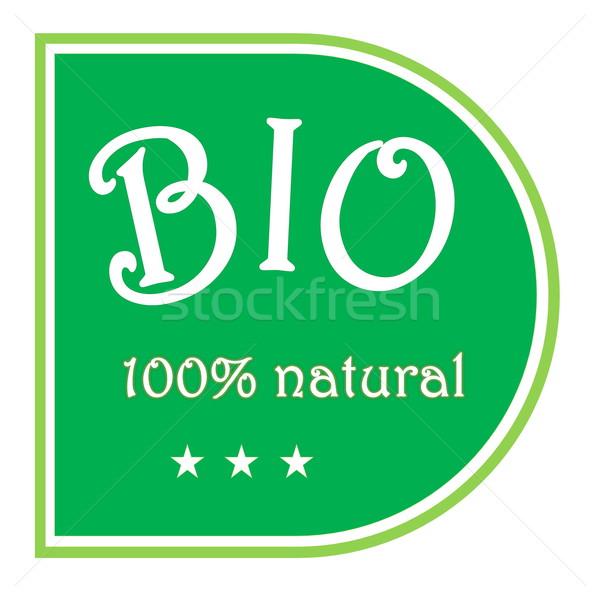 Bio label groene 100 natuurlijke drie Stockfoto © Elenarts