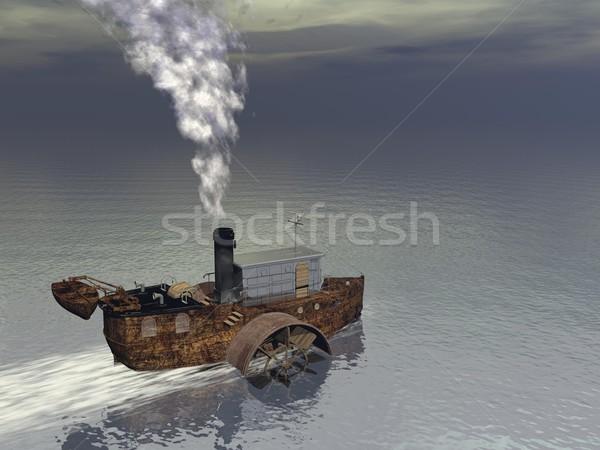 Parowiec łodzi 3d mały wody Zdjęcia stock © Elenarts