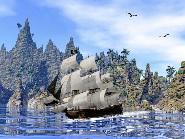 Pirate ship on the coast - 3D render Stock photo © Elenarts