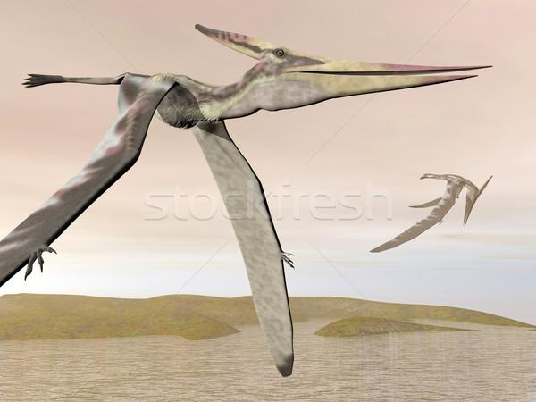 Pteranodon flying - 3D render Stock photo © Elenarts