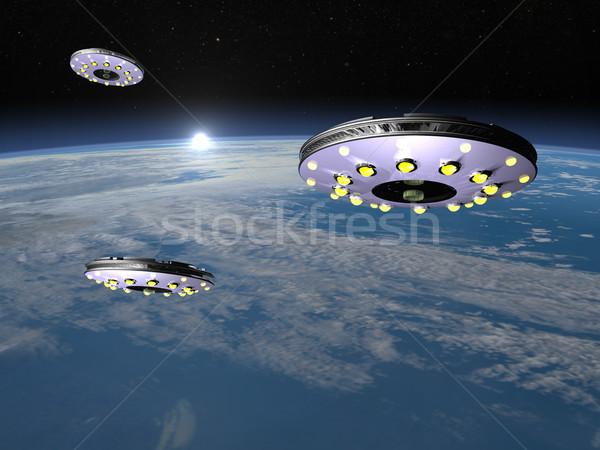 Föld 3d render három repülés emelkedő nap Stock fotó © Elenarts