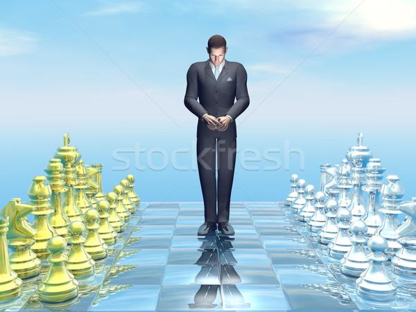 Empresario derrotar 3d mirando triste tablero de ajedrez Foto stock © Elenarts