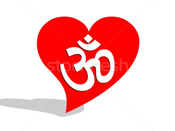 Aum / om in a heart Stock photo © Elenarts