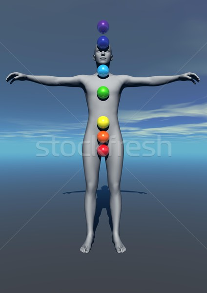 Human and chakras colors Stock photo © Elenarts
