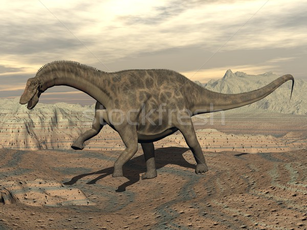 Dicraeosaurus dinosaur walking - 3D render Stock photo © Elenarts