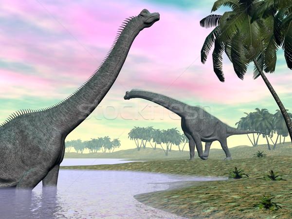 Сток-фото: Динозавры · природы · 3d · визуализации · два · пейзаж · воды