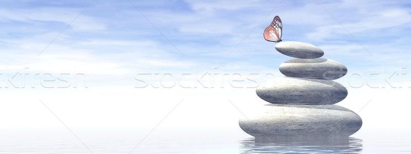 Gleichgewicht 3d render weiß Steine Wasser schönen Stock foto © Elenarts