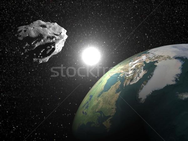Asteroid near earth - 3D render Stock photo © Elenarts