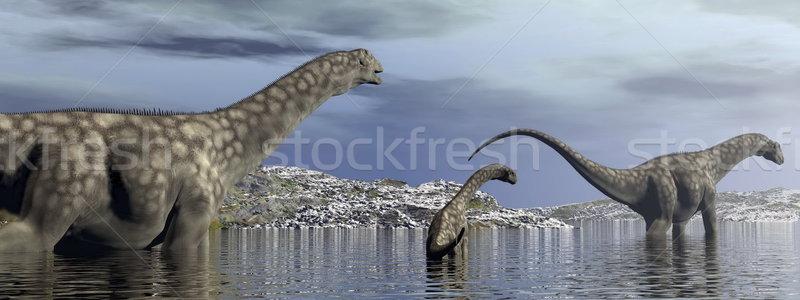 Argentinosaurus dinosaurs family - 3D render Stock photo © Elenarts