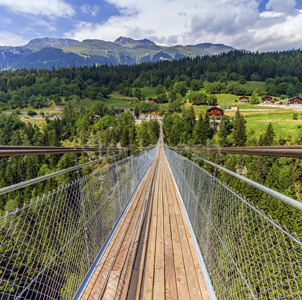 Suspended bridge over Lama gorge in Valais canton, Switzerland Stock photo © Elenarts