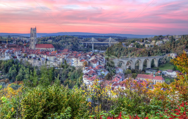 View of cathedral, Poya and Zaehringen bridge, Fribourg, Switzerland, HDR Stock photo © Elenarts