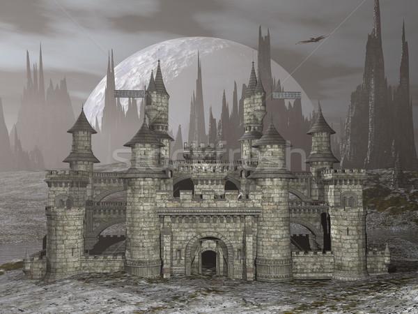 Castle by night - 3D render Stock photo © Elenarts