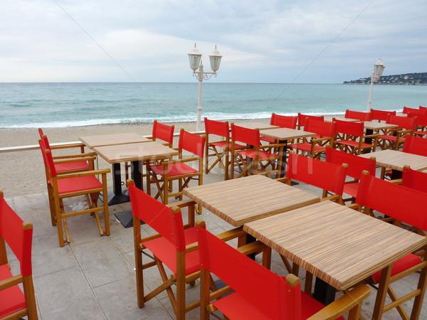 Red restaurant terrace Stock photo © Elenarts