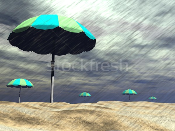 Rain on the beach - 3D render Stock photo © Elenarts