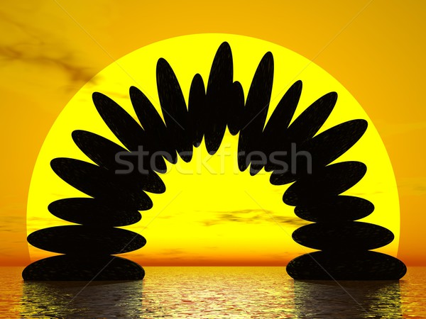 Balance by sunset - 3D render Stock photo © Elenarts