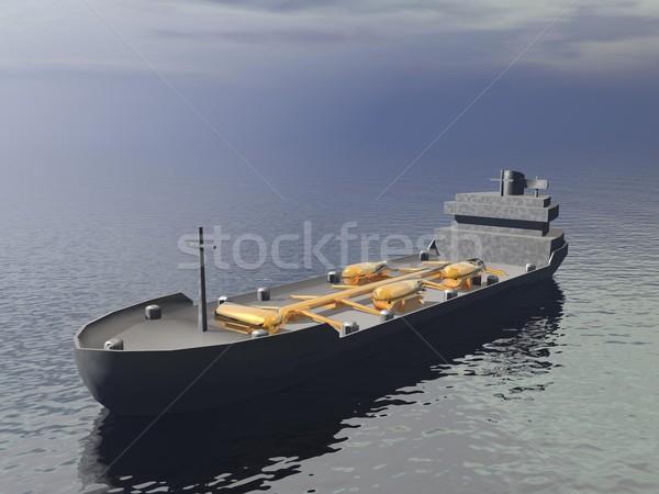 судно 3d визуализации океана серый день воды Сток-фото © Elenarts