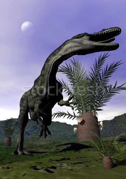 динозавр 3d визуализации завода полнолуние вечер природы Сток-фото © Elenarts