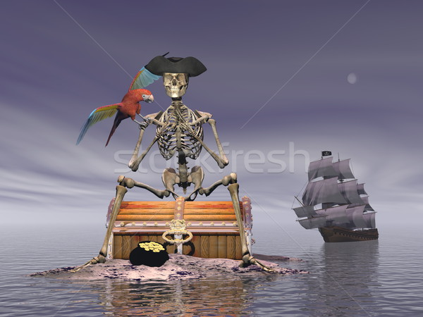 Skeleton pirate treasure - 3D render Stock photo © Elenarts