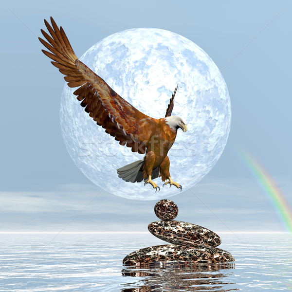 Eagle landing on balanced stones - 3D render Stock photo © Elenarts