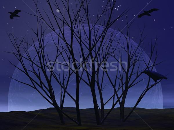 Kidőlt fa bokor éjszaka 3d render sivatag varjú Stock fotó © Elenarts