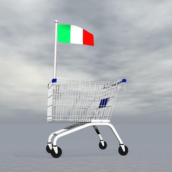 Olasz vásárlás 3d render bevásárlókocsi tart olasz zászló Stock fotó © Elenarts