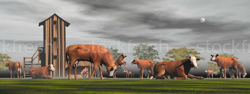 Herd of hereford cows - 3D render Stock photo © Elenarts