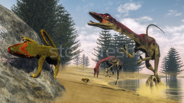 Dinozorlar 3d render dinozor avcılık geko ağaçlar Stok fotoğraf © Elenarts