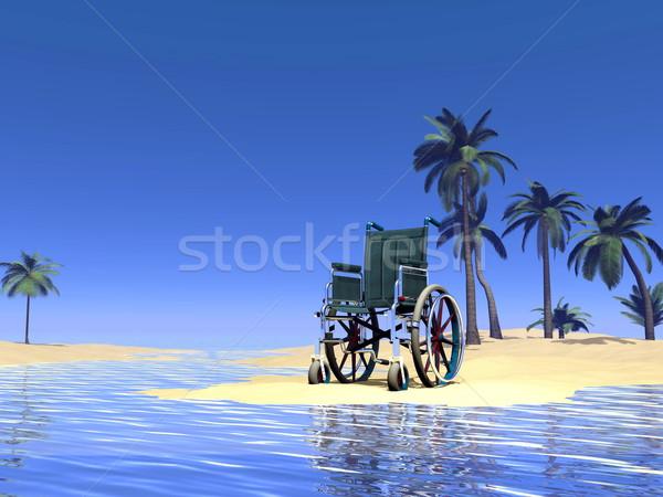 Wheelchair holidays - 3D render Stock photo © Elenarts